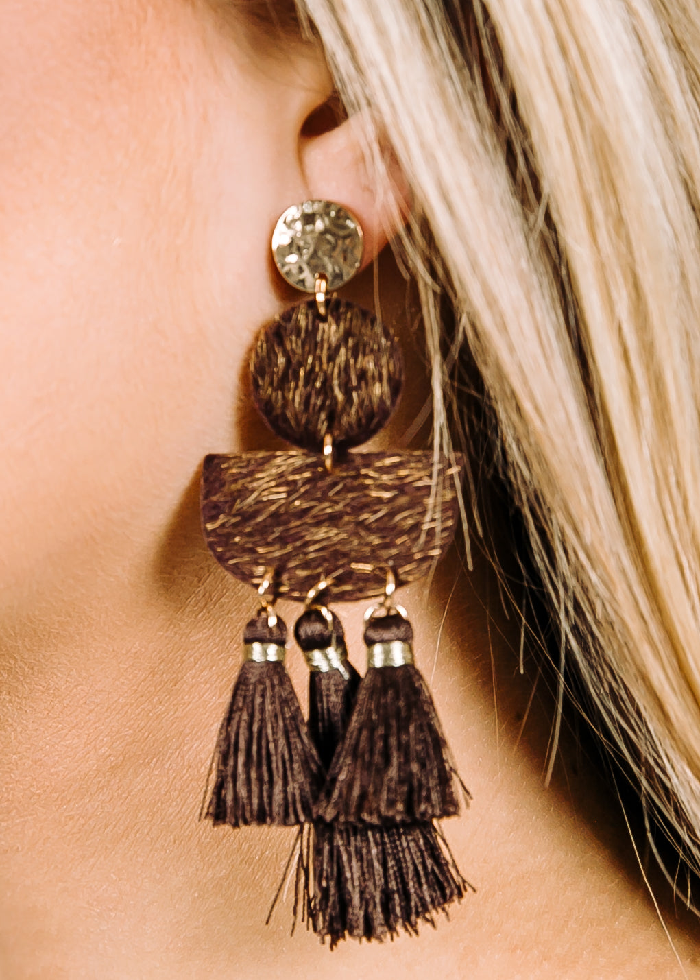 Brown Fur Tassel Earring
