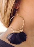 Grey Feather Gold Hoop Earring