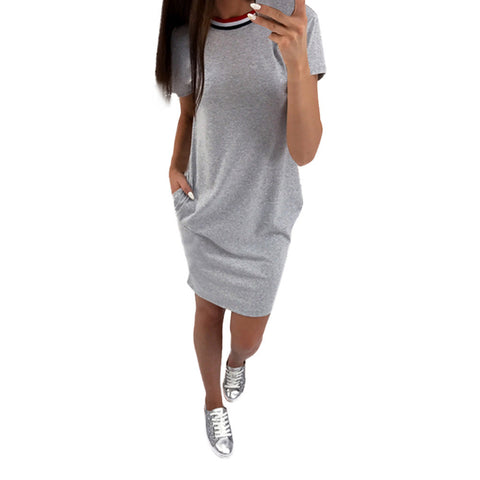 Womens - Short Sleeve Casual Patchwork Pocket Evening Short Mini Dress