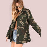 Ladies Lightweight Camo Patch Button Down Jacket