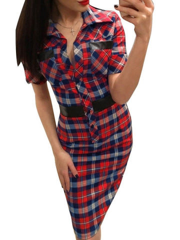 Womens - Lapel Plaid Short Sleeve Womens Bodycon Dress