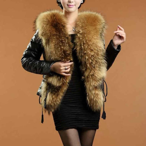 Ladies Luxury Warm Faux Sheepskin Slim Fashion Jacket