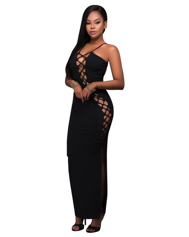Womens - Flared Slit Crisscross Sling Bandage Maxi Dress