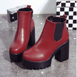 Ladies Boots Square Heel Platforms Leather Thigh High Pump Boots Shoes