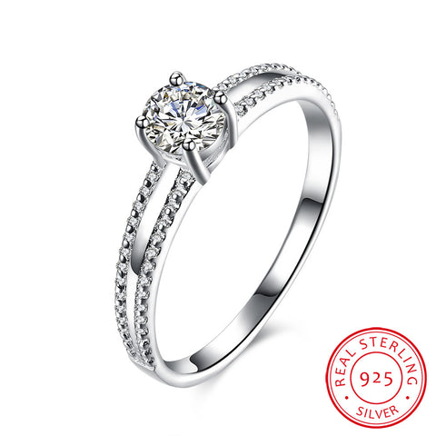 Sleek 925 Sterling Silver Diamond Ring