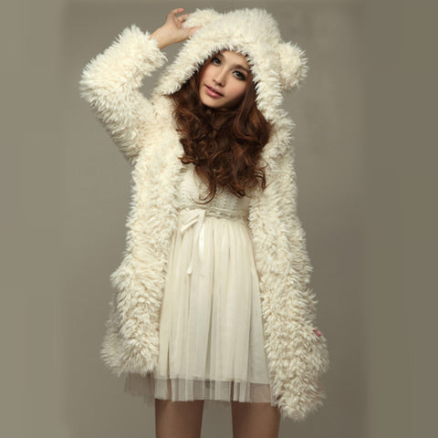 Ladies Soft Fleece Teddy Bear Ears Jacket
