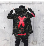 Mens Letter X Coat Camo Jacket