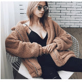 Ladies Winter Fuzzy Faux Fur Teddy Bear Jacket