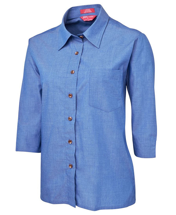Ladies Chambray 3/4 Sleeve Shirt