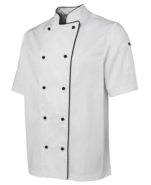 Piped Short Sleeve White Chefs Jacket