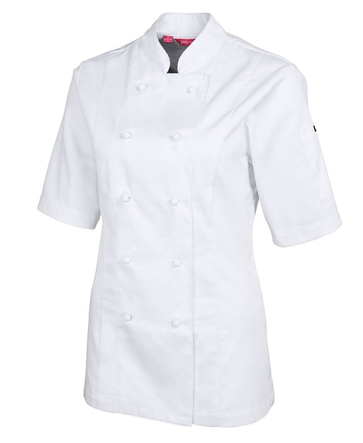Ladies White Short Sleeve Vented Chefs Jacket