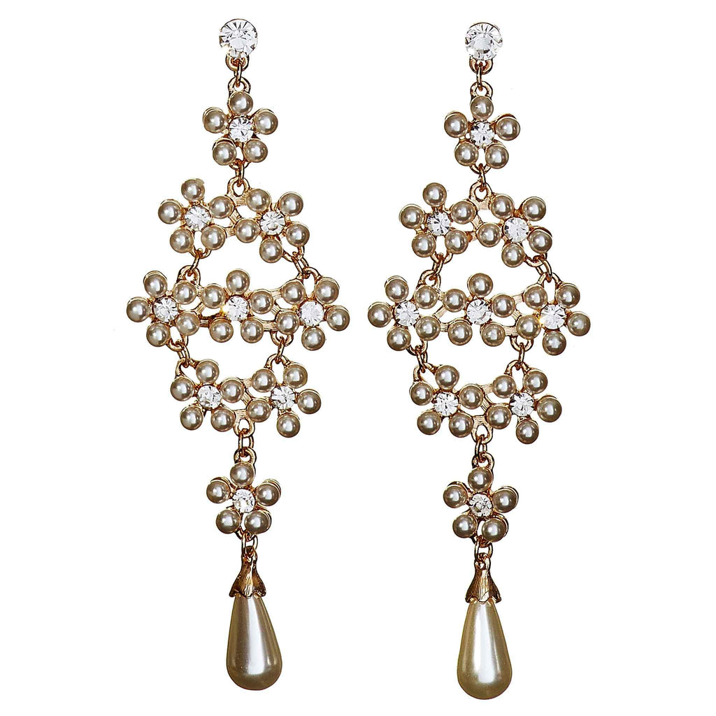 Naomi Faux Pearl Chandelier Earrings
