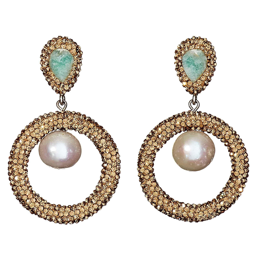 Halston Golden Pearl Drop Earrings