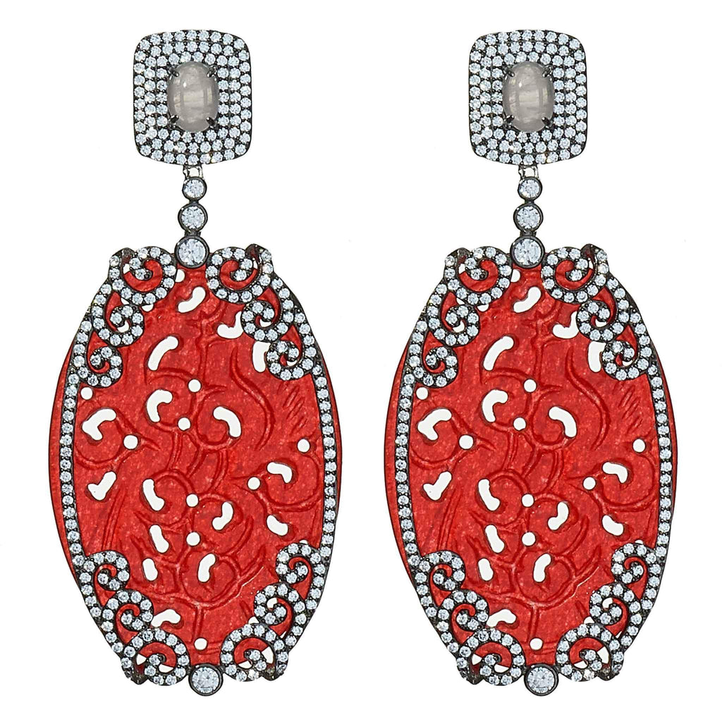 Emma Red Jade Chandelier Earrings