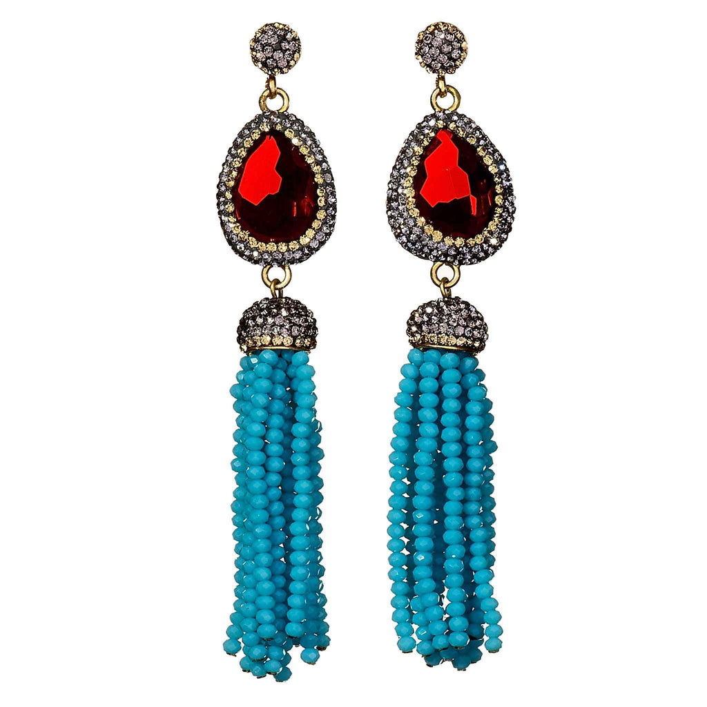 Cindy Turquoise Tassel Earrings
