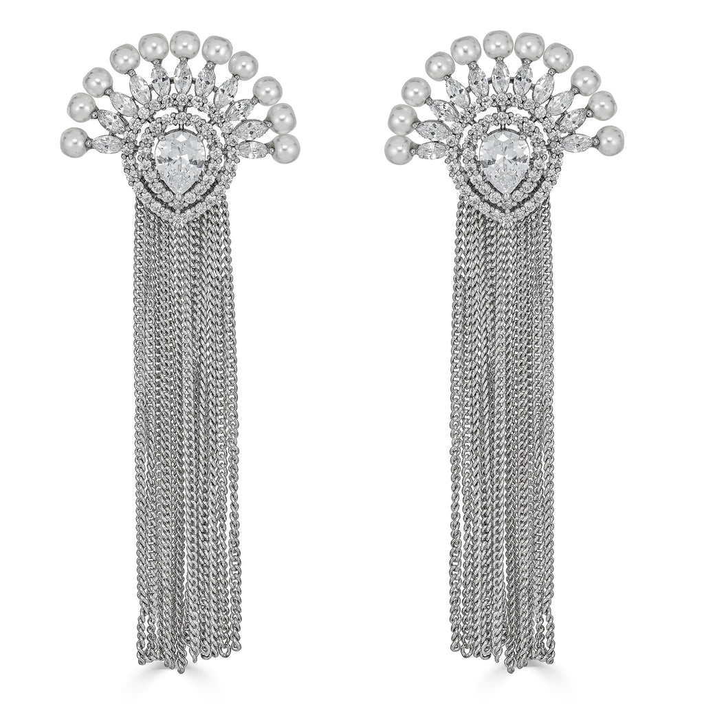 Everest Pearl & Chain Statement Earrings