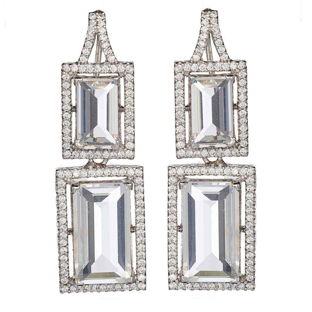 Maple Emerald Cut Drop Earrings