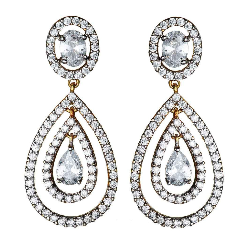 Deni Pave Teardrop Earrings