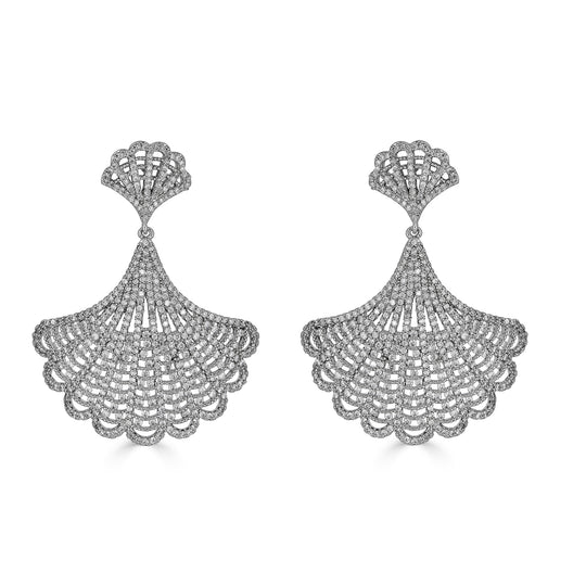 Brielle Silver Fan Earrings