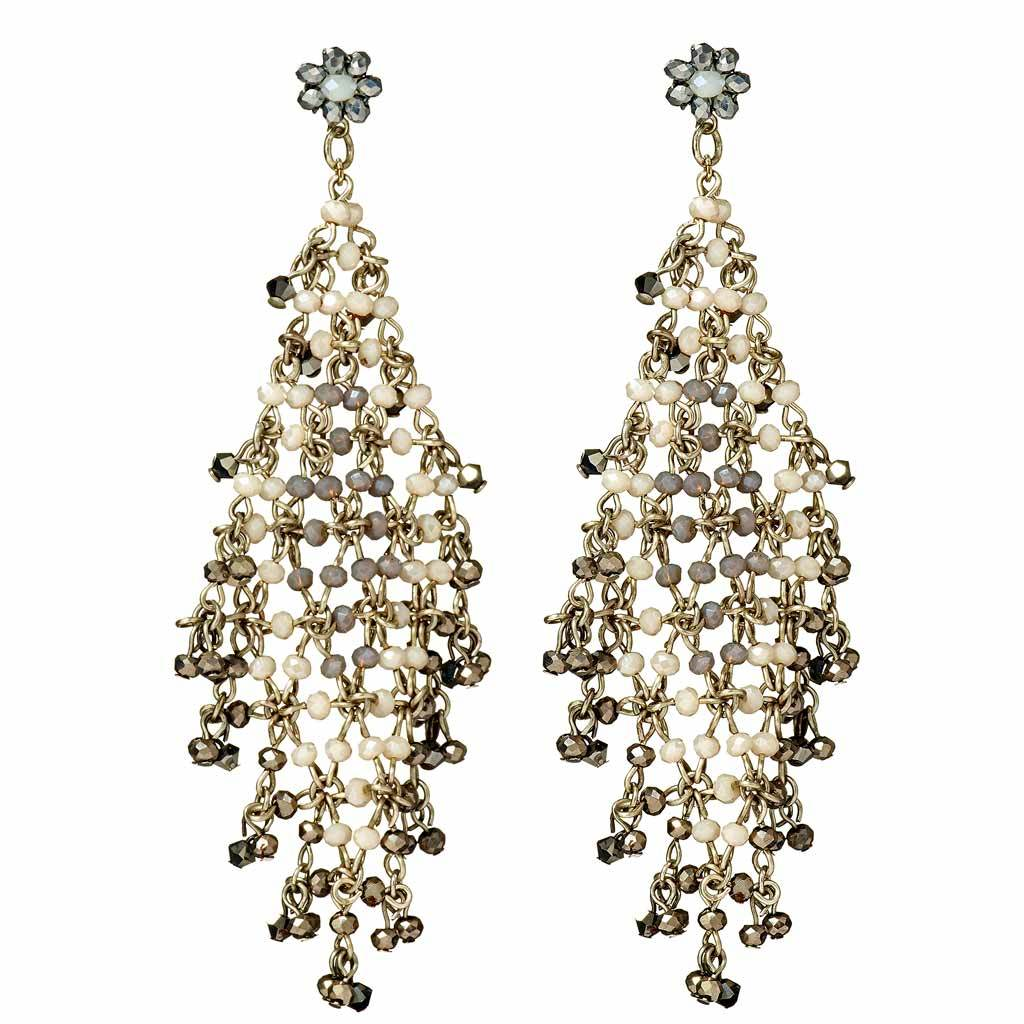 Laila Handwoven Cut Crystal Earrings