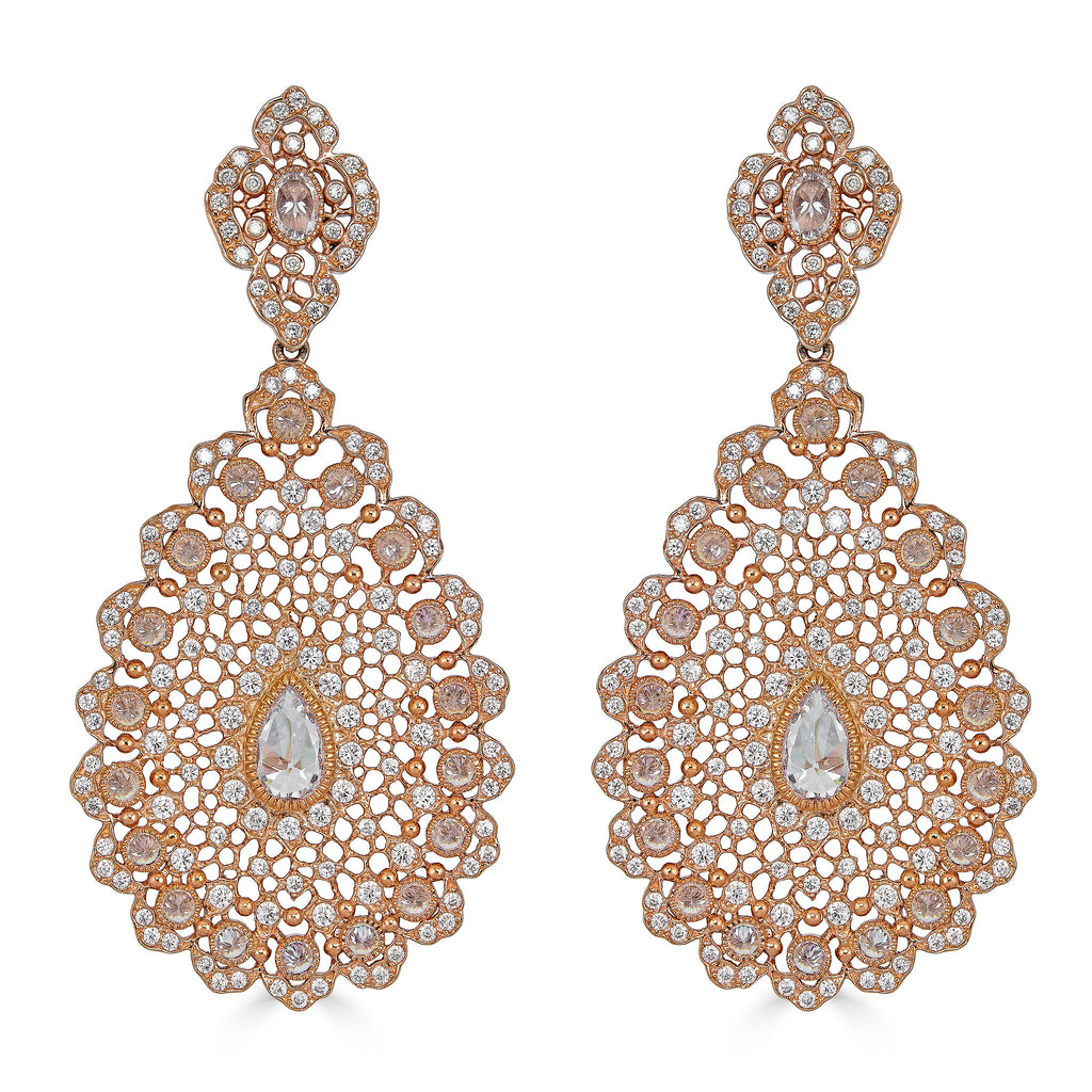 Perla Rose Gold Chandelier Earrings