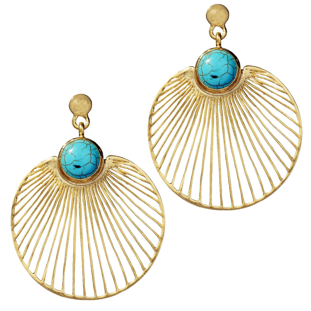 Dulce Gold Fan Drop Earrings