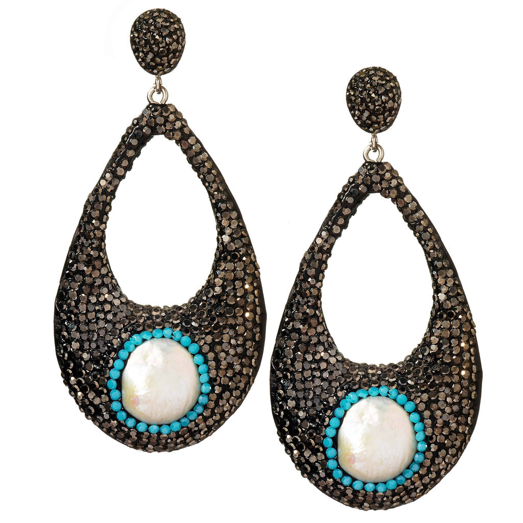 Noor Gunmetal Drop Earrings