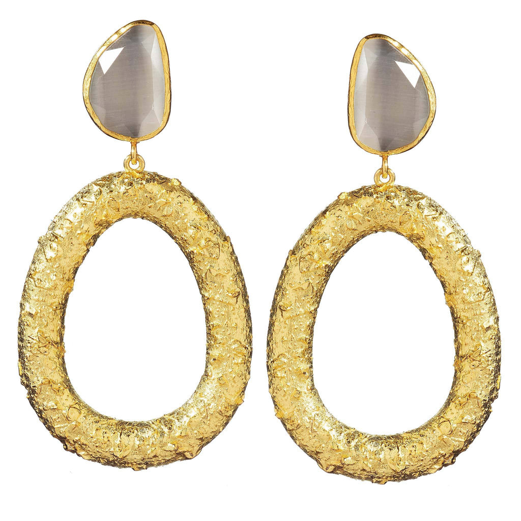 Opal Gold Circular Drop Earrings