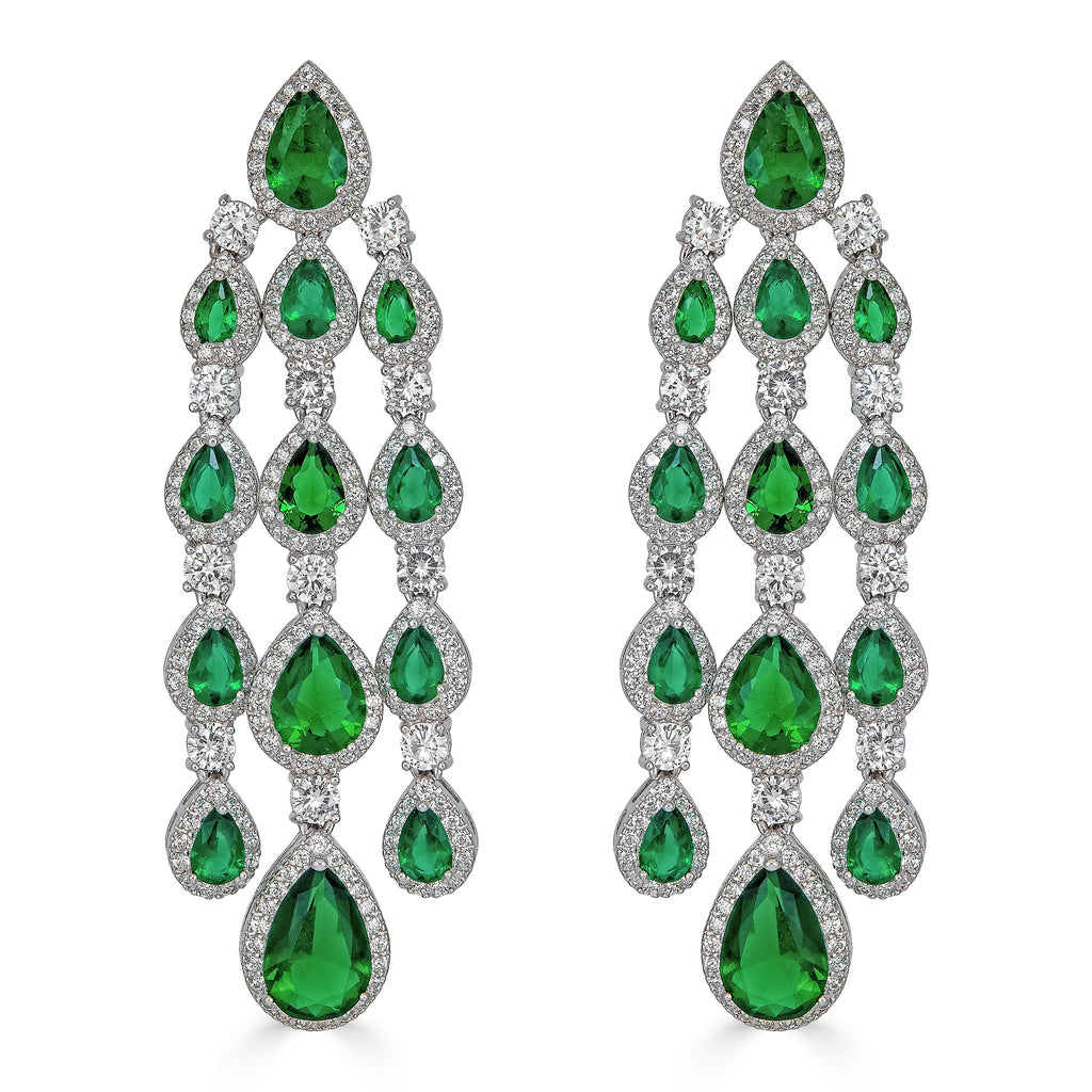 Emmeline Emerald Chandelier Earrings