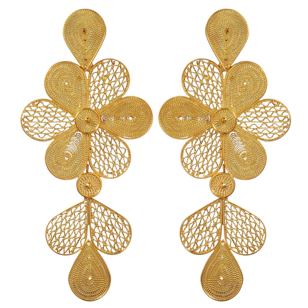 Aya Gold Floral Chandelier Earrings