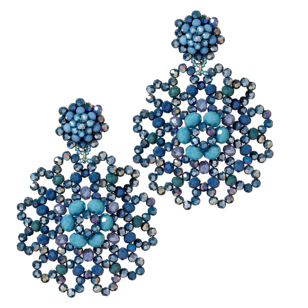 Arya Sea Blue Crystal Chandelier Earrings