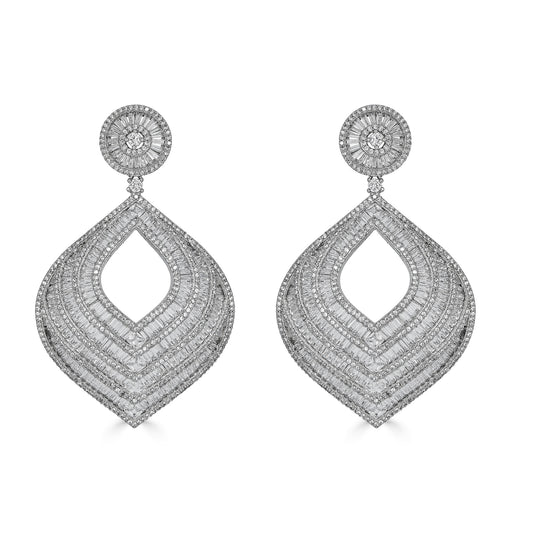 Brooklyn Baguette Cut Chandelier Earrings
