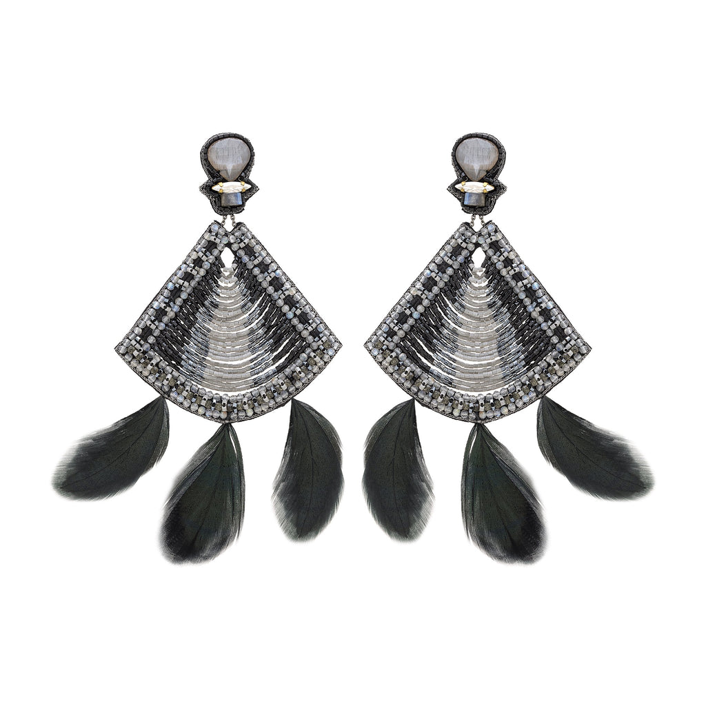 Alivia Onyx Feather Statement Earrings