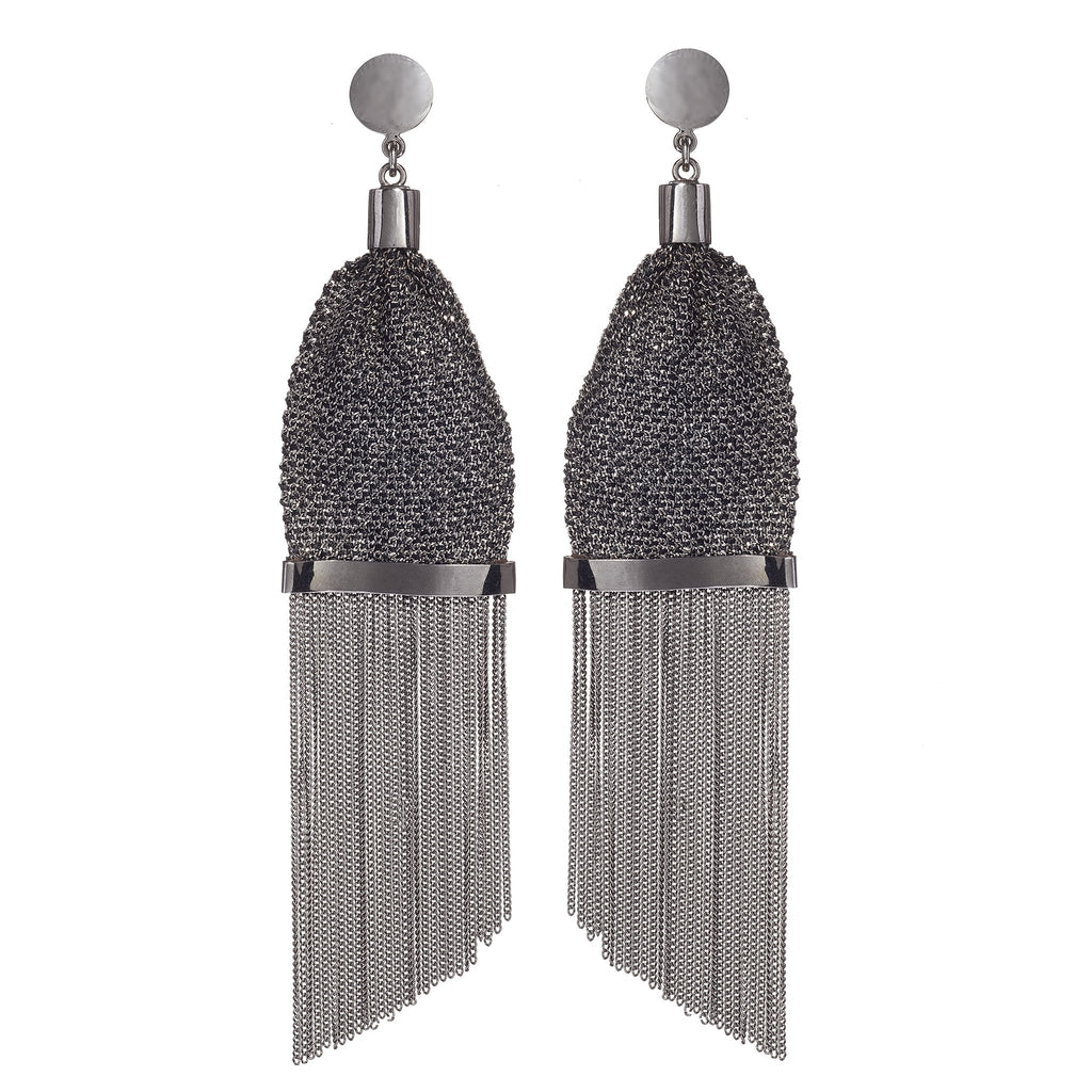 Sabella Gunmetal Chain Earrings