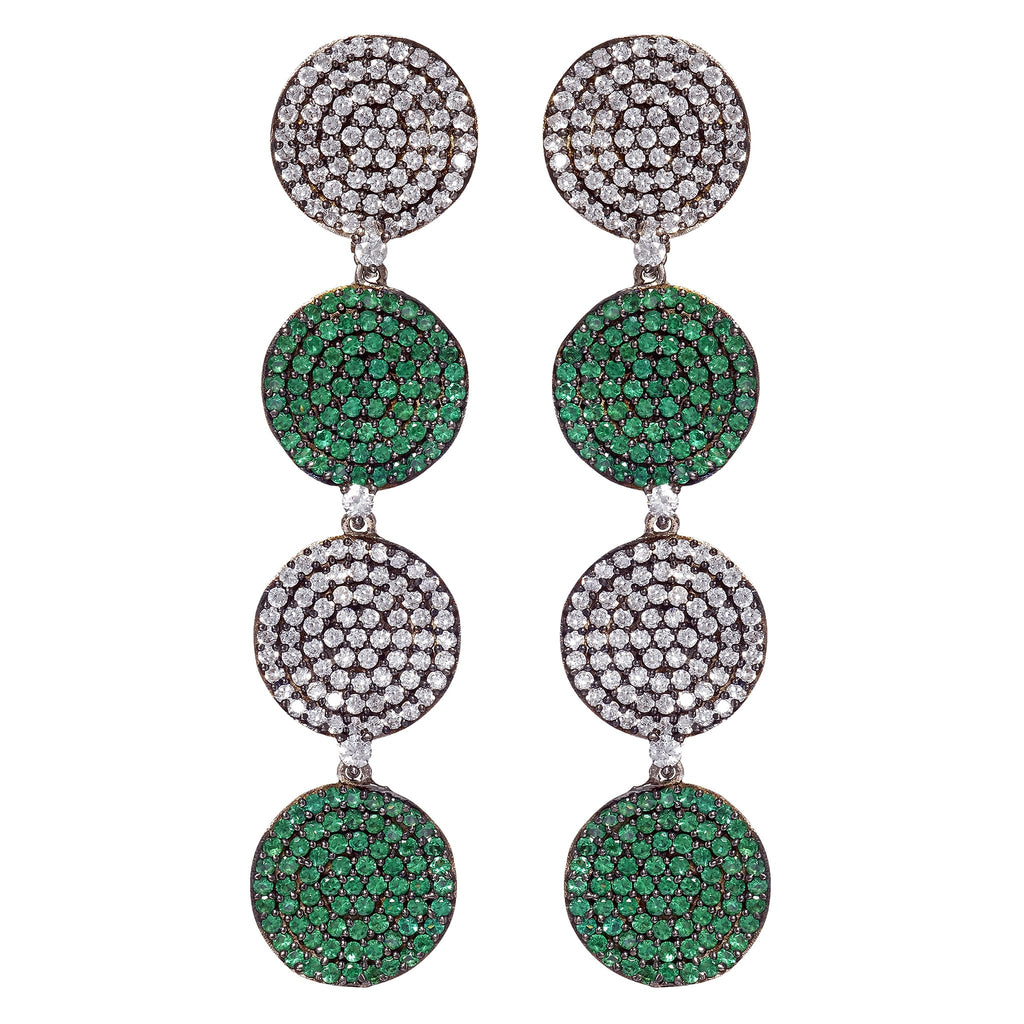 Fern Emerald Disc Drop Earrings