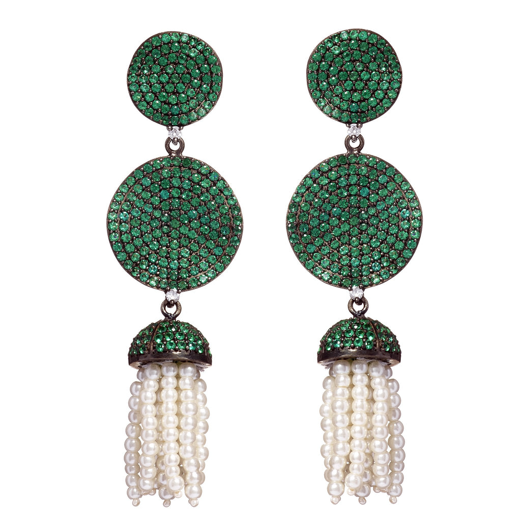 Fern Emerald & Pearl Drop Earrings
