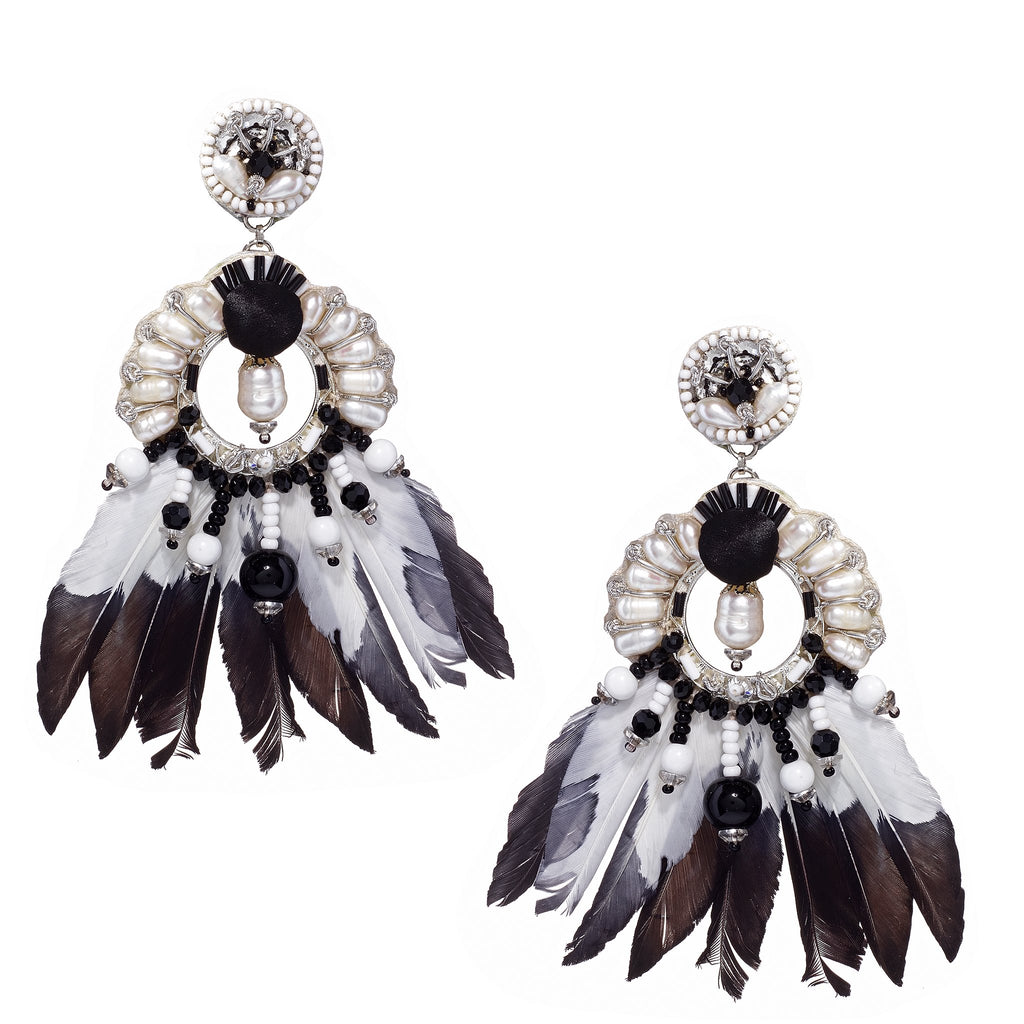 Gaia Black & White Feather Earrings