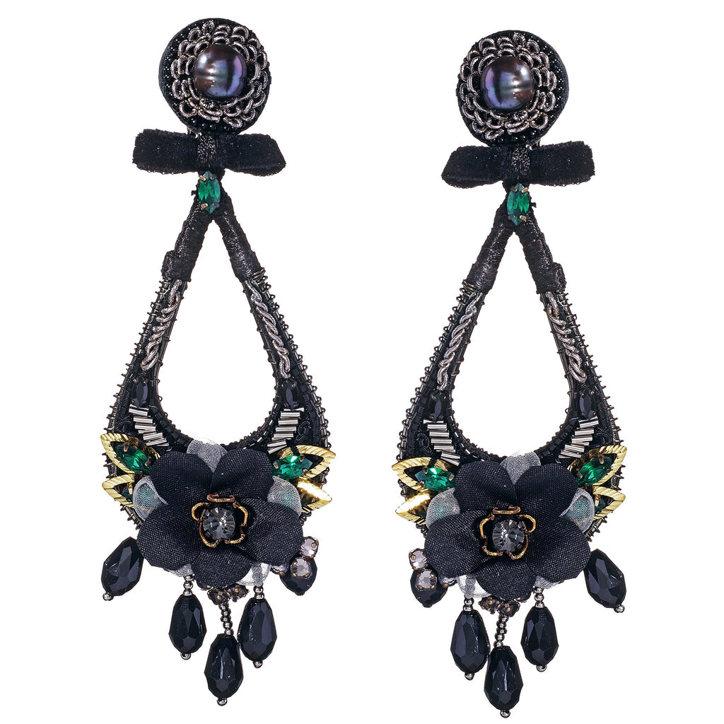 Fleur Black Floral Drop Earrings
