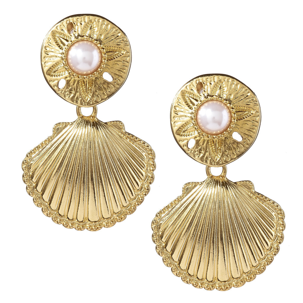 Caprice Gold Shell Drop Earrings