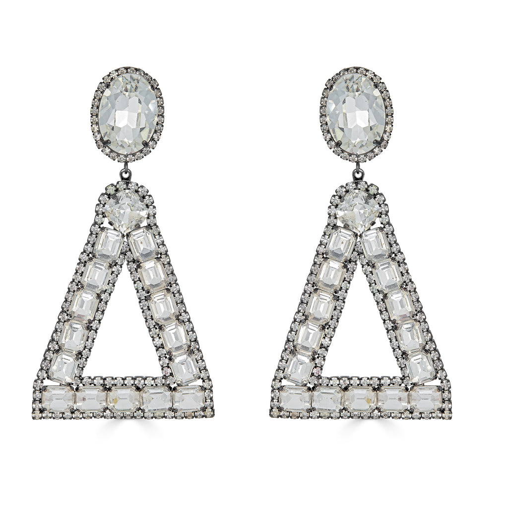 Edwina Gunmetal Triangle Crystal Earrings