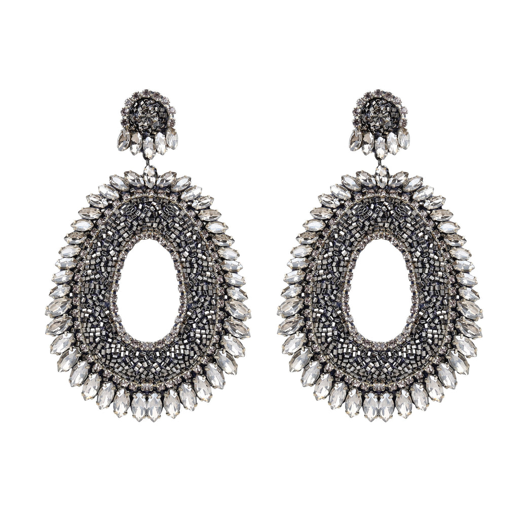 Iola Gunmetal Statement Earrings