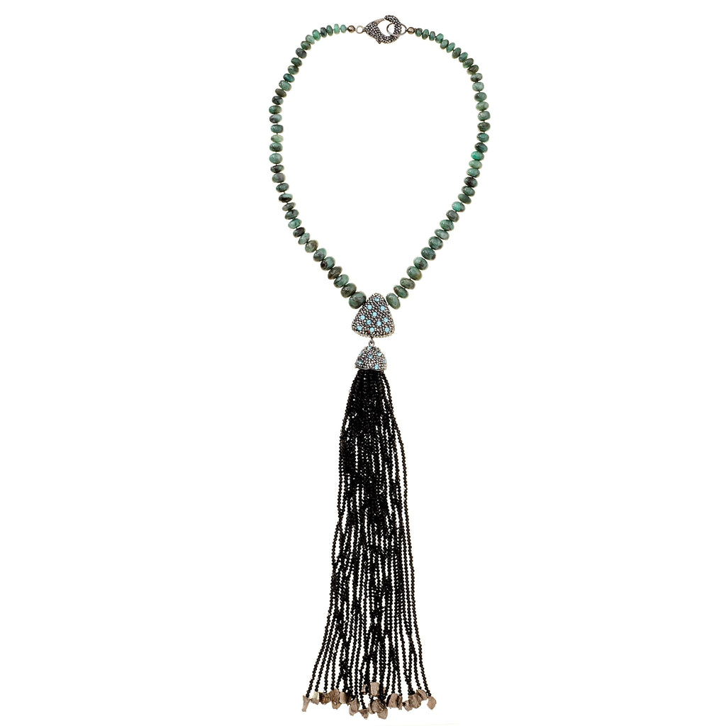 Cyia Crystal Tassel Necklace