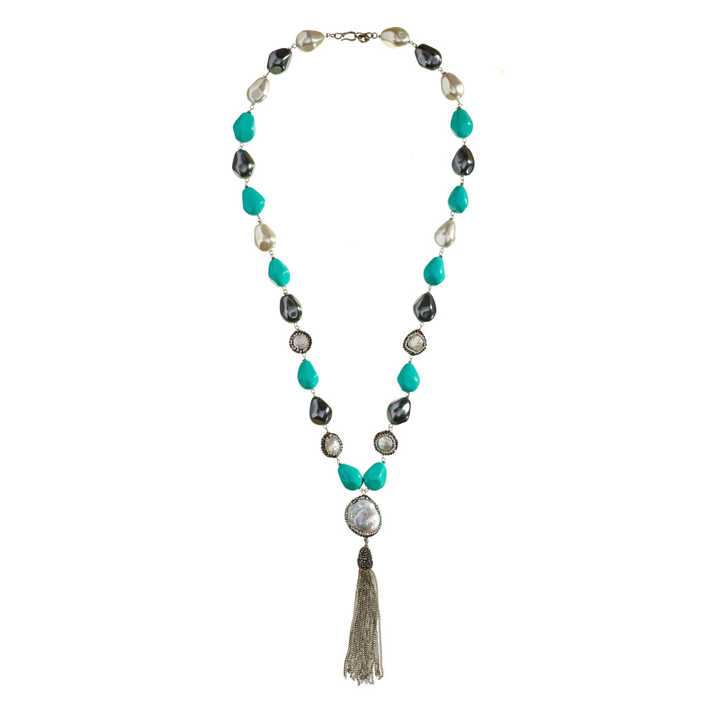 Alexis Turquoise Tassel Necklace