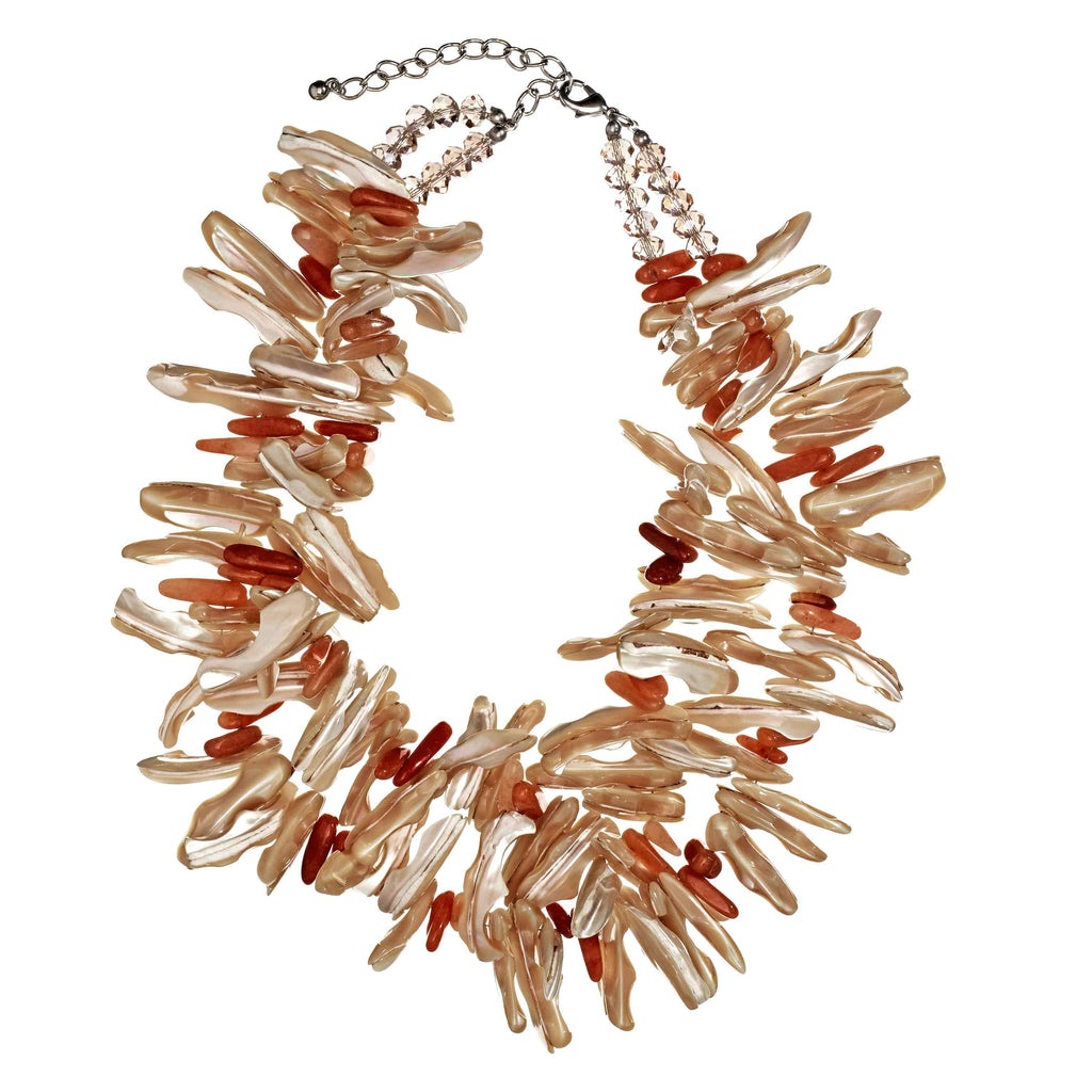 Meline Coral Bib Necklace