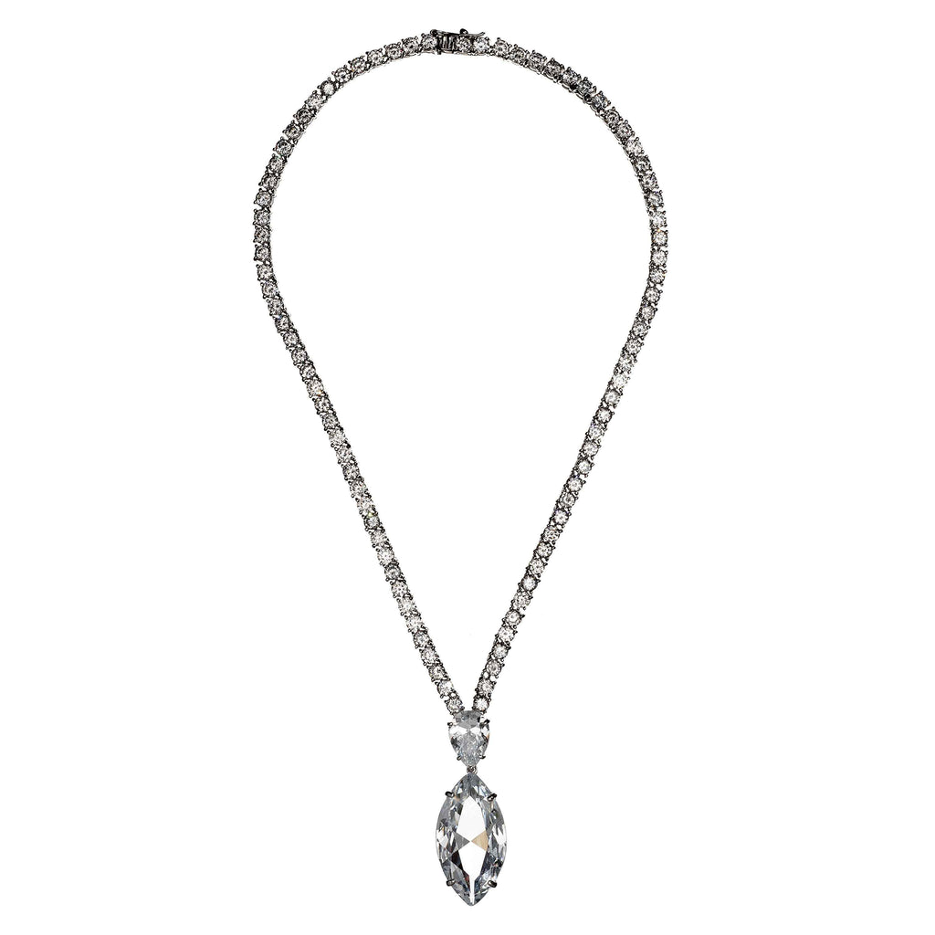 Brenda Y-Shaped Crystal Necklace