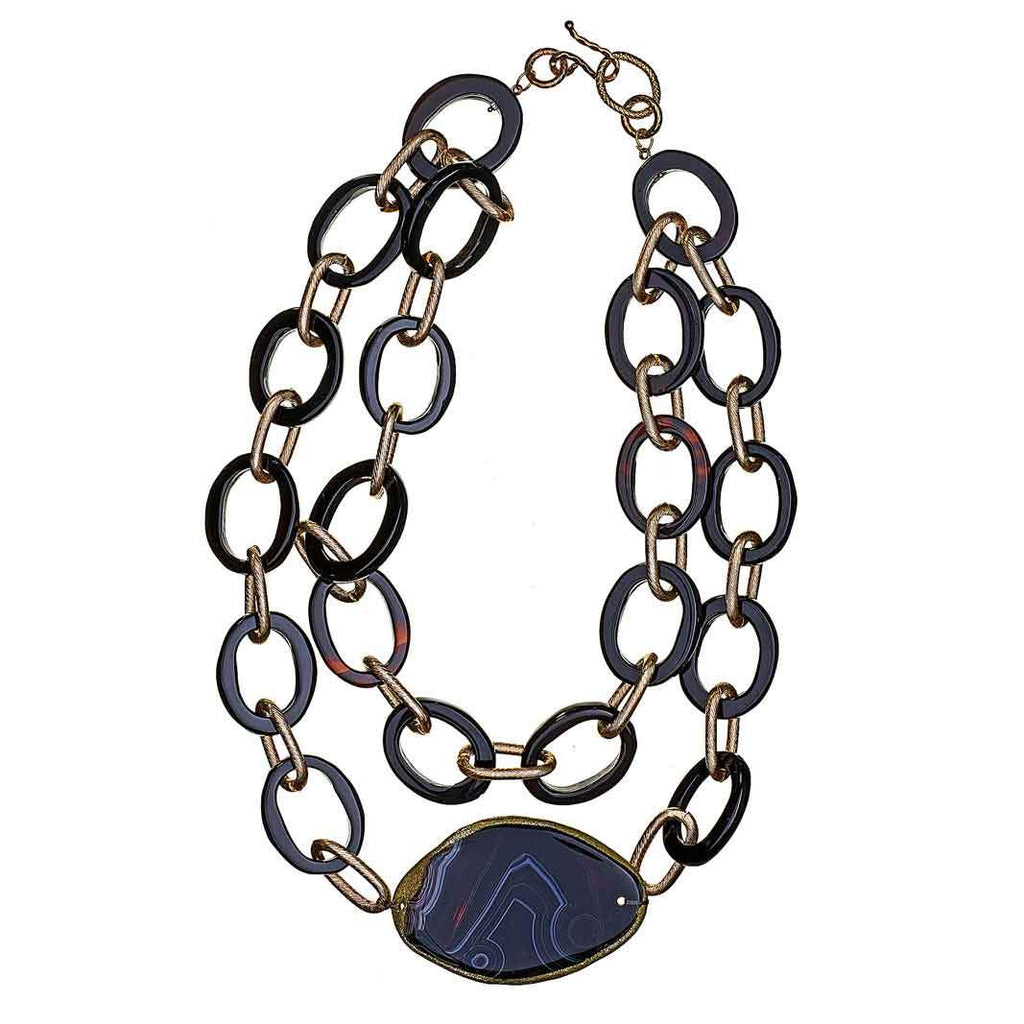 Xosha Agate Link Necklace
