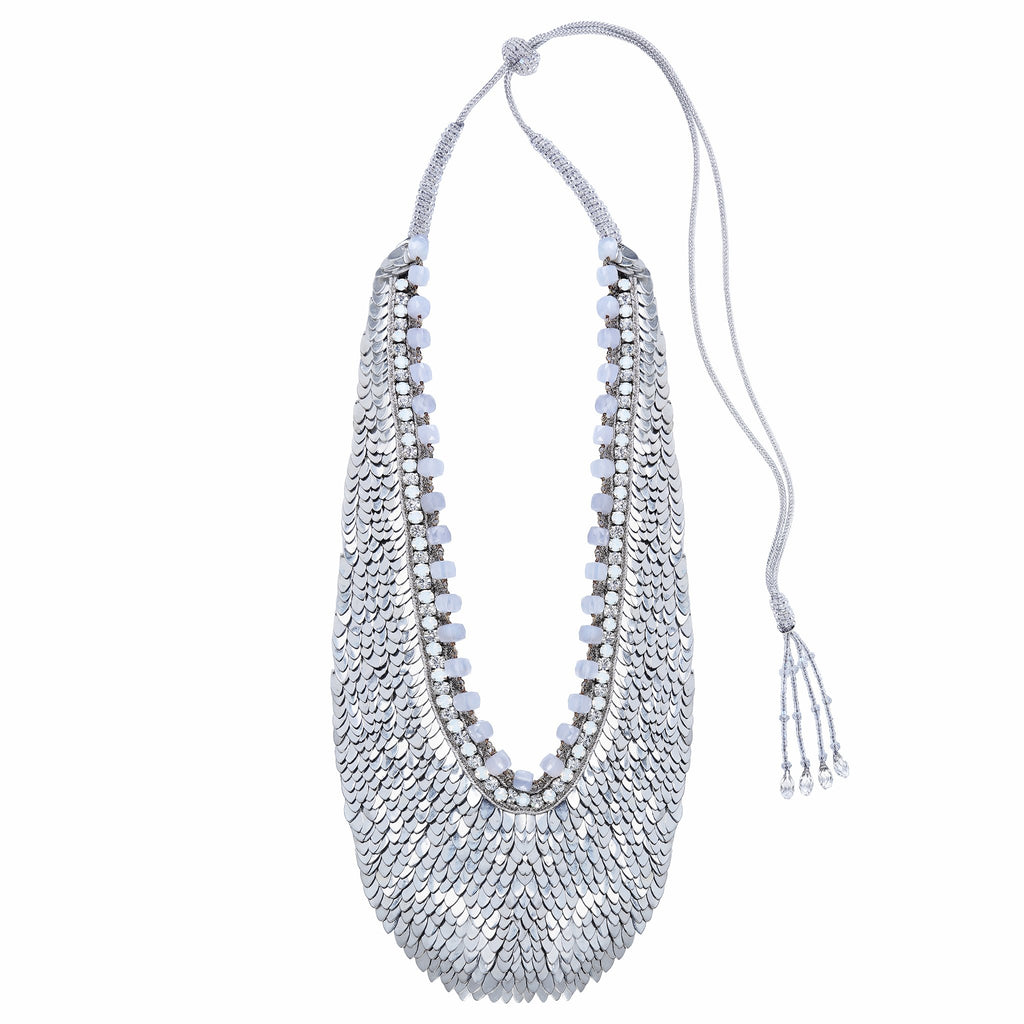 Afia Silver Sequin Necklace