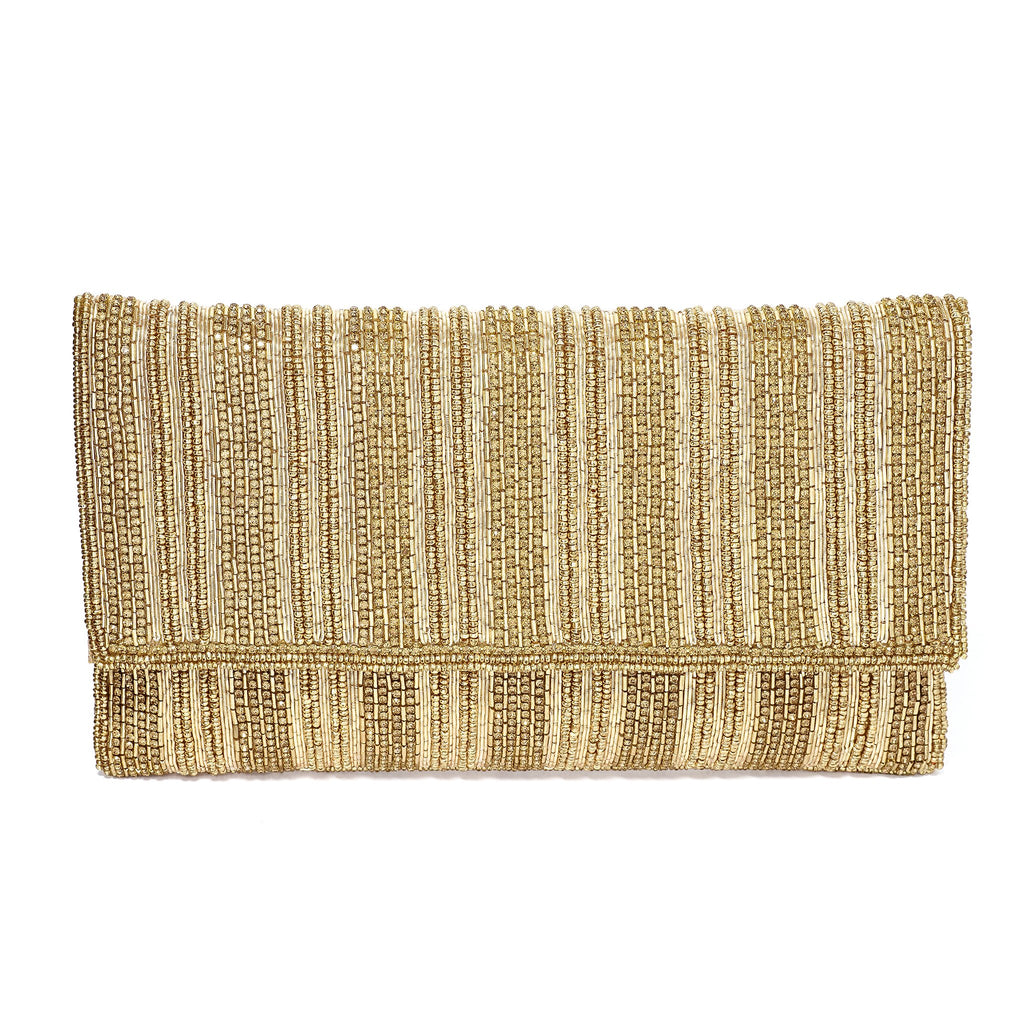 Jalessa Gold Beaded Envelope Clutch