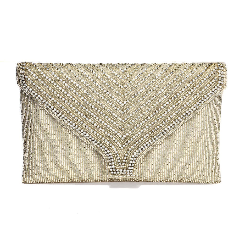 Earleen Silver Glitter Envelope Clutch
