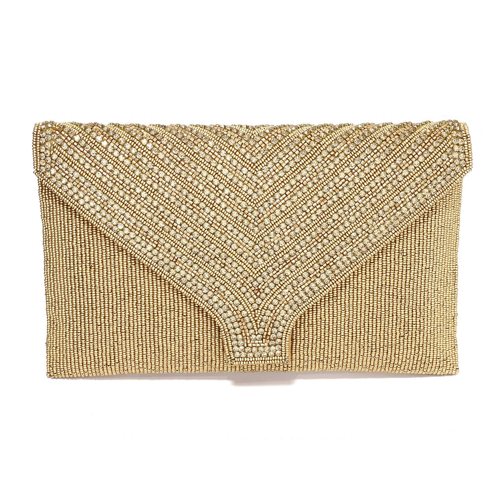 Celina Gold Beaded Envelope Clutch